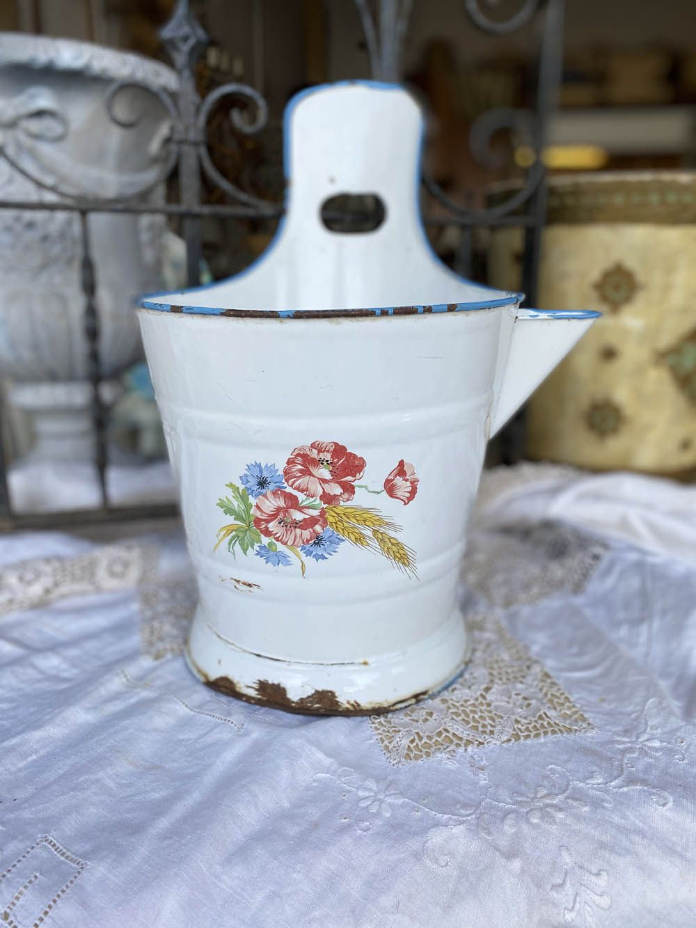 French Enamel Sap Bucket